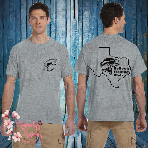Kellogg Fishing Club ~ short sleeve gray t-shirt
