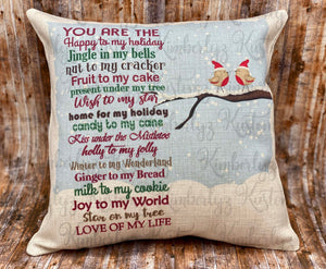 Lovebird Christmas Pillow
