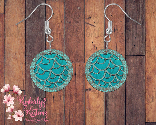Teal and Leather looking  MDF Round Earrings