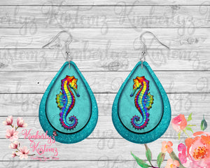 "Digital File for 2"" Teardrop Seahorse earrings ~ DIGITAL FILE"