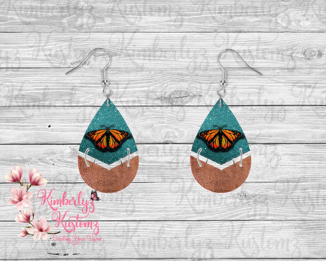 Split Butterfly MDF Tear Drop Earrings