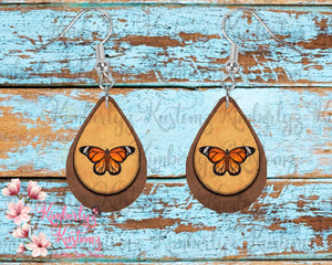 Butterfly MDF Tear Drop Earrings