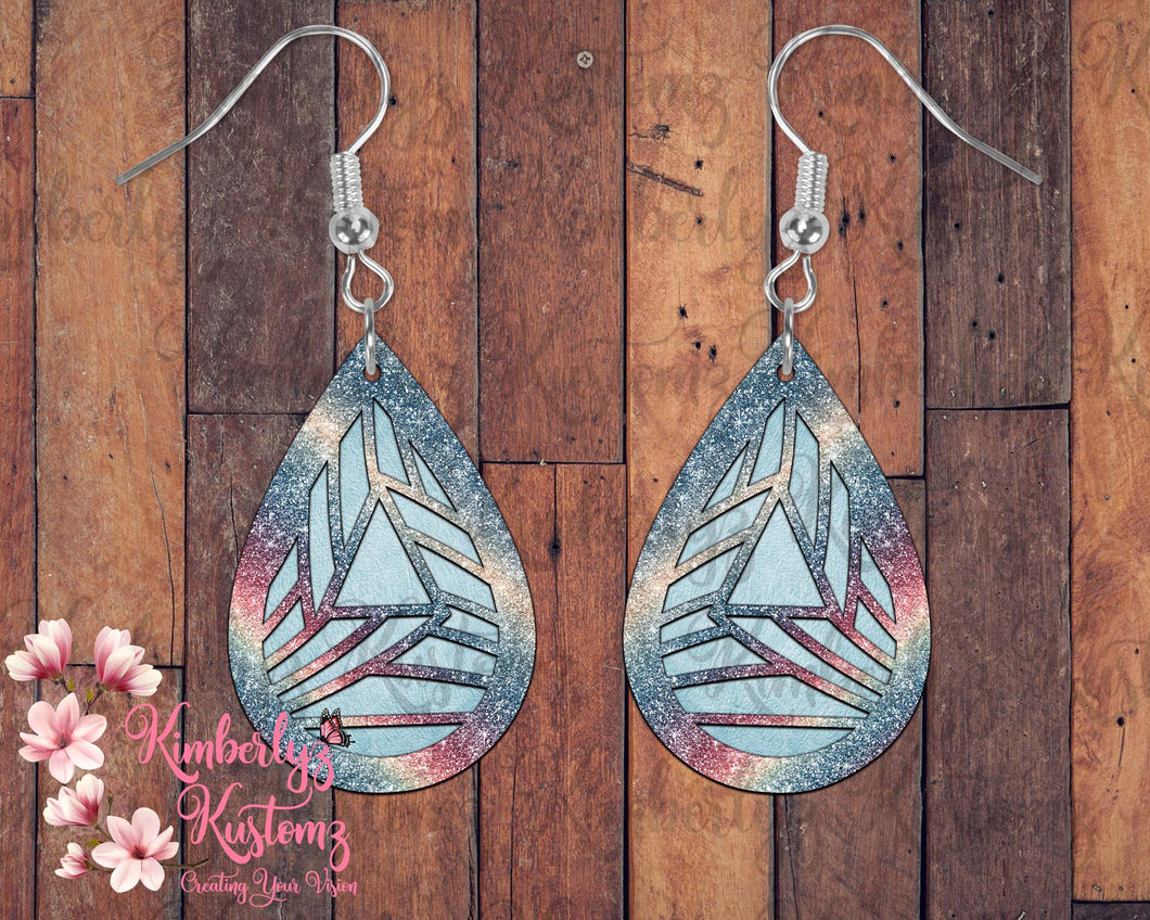 Geometrical Custom Glitter look MDF Tear Drop Earrings
