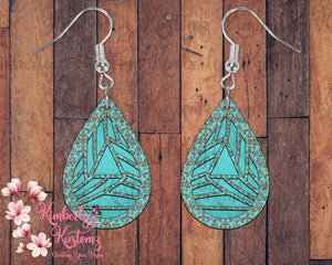 Geometrical Custom MDF Tear Drop Earrings
