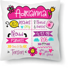 Load image into Gallery viewer, Personalized Birth Announcement Pillow