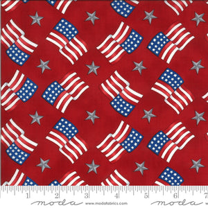 America Beautiful Barnwood Red Flags Stars 19986 11 designed by Deb Strain for Moda