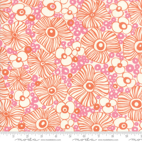 "Rayon Fabric - 54"" Botanica Rayon Mariposa Peach Blossom 11842 14R designed by Crystal Manning for Moda"