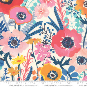 "Rayon Fabric - 54"" Botanica Rayon Porcelain White Floral 11840 12R designed by Crystal Manning for Moda"