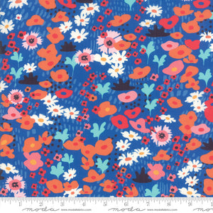 "Rayon Fabric - 54"" Botanica Rayon Royal Bijou Flowers 11841 14R designed by Crystal Manning for Moda"