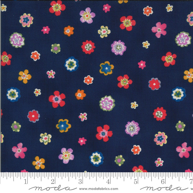 Lulu Flowers Navy 33585 11 designed by Chez Moi for Moda