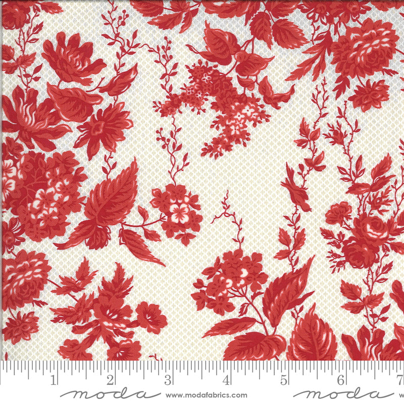 Roselyn Floral Taupe Red 14910 14 by Minick & Simpson for Moda