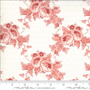 Roselyn Morning Glory Cream with Pink Flowers 14911 11 by Minick & Simpson for Moda