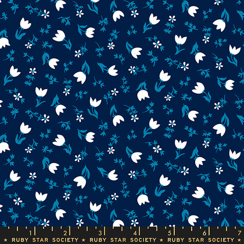 Smol Tulip Calico Navy RS3017 14 designed by Ruby Star Society for Moda