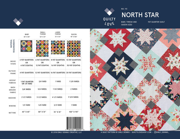 North Star Quilt Pattern by Emily Dennis of Quilty Love - join in on Emily's Quilt Along
