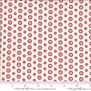 Roselyn Ivory Circle Dot with Red Flower 14913 16 by Minick & Simpson for Moda