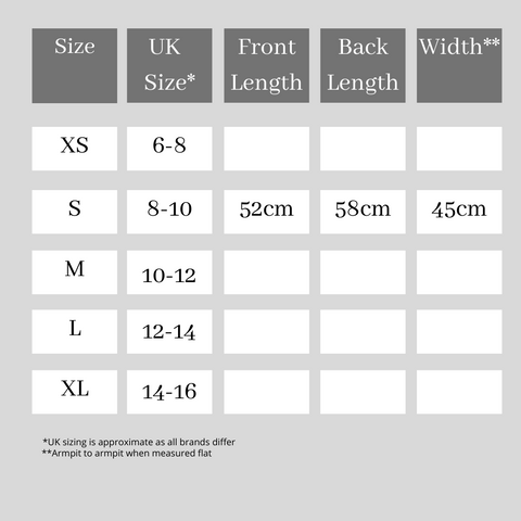 Size Guide for Ladies Fit Tees - Joy and Hearts