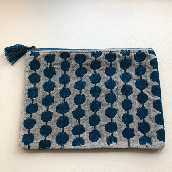 Grey and Blue Velvet Pouch (two sizes available)