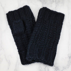 Navy Cable Knit Hand Warmers