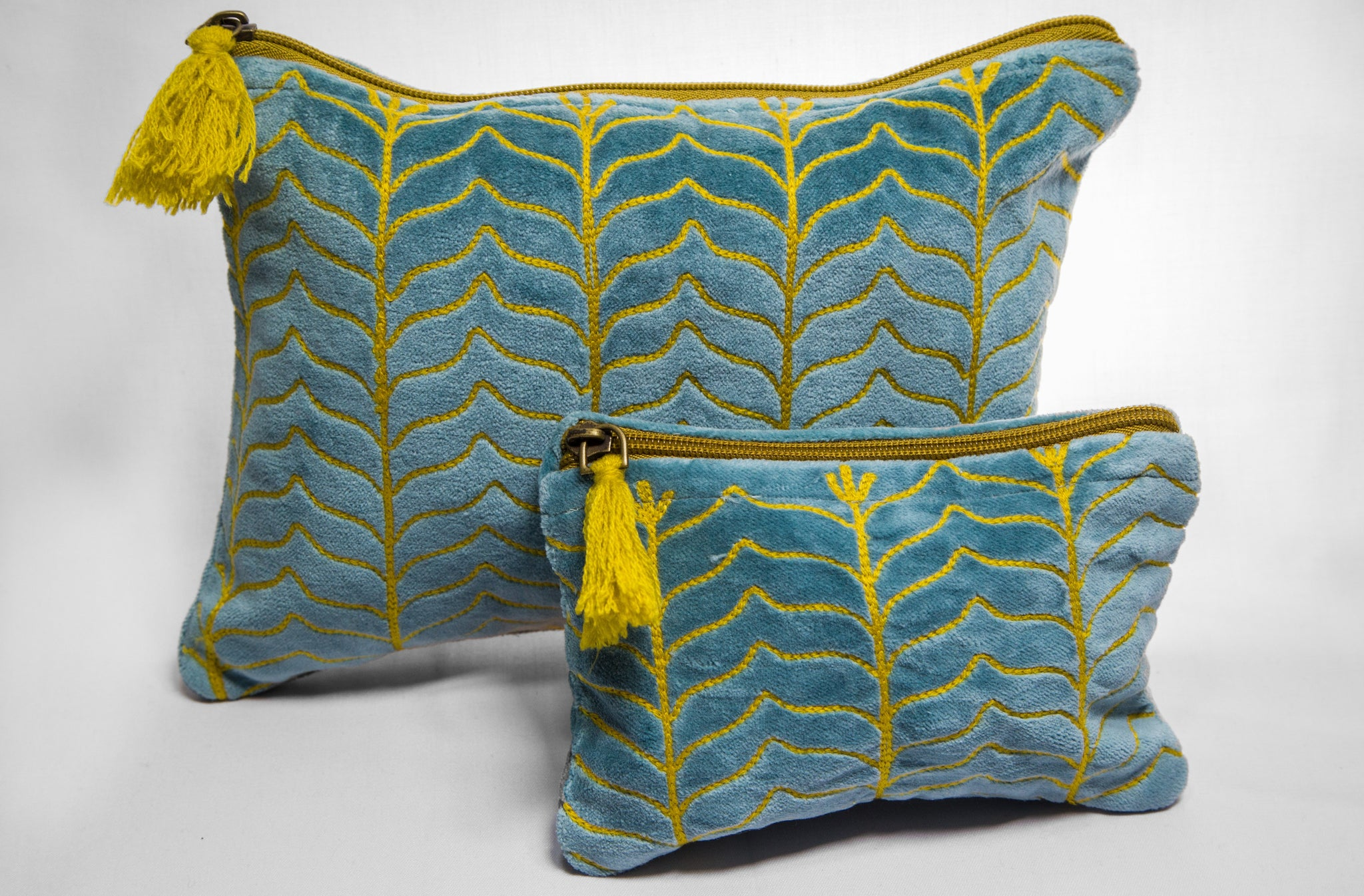 Teal and Mustard Velvet Pouch (two sizes available)