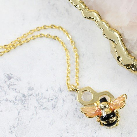 Gold Honeycomb Bee Necklace