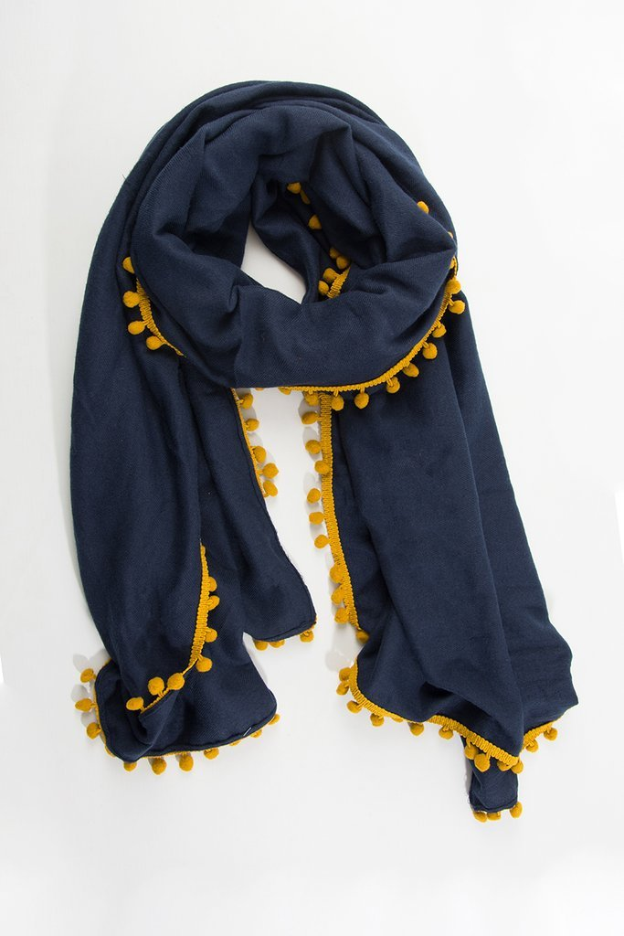 Navy and Mustard Pom Pom Scarf