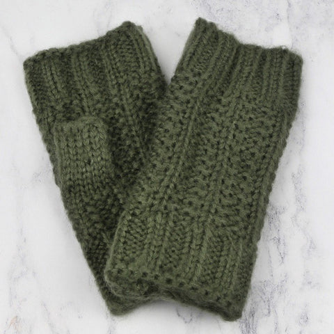 Olive Cable Knit Hand Warmers
