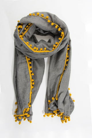 Grey and Mustard Pom Pom Scarf
