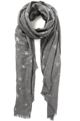 Grey and Silver Star Scarf