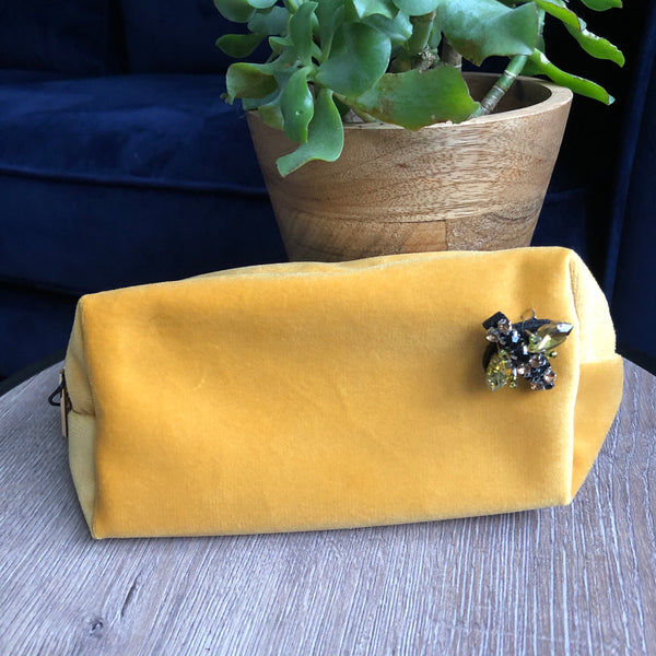Amber Velvet Make Up Bag with Jewel Pin
