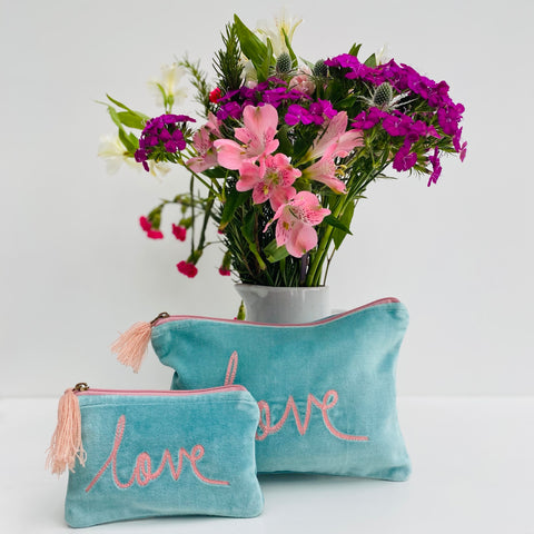 Aqua and Pink Love Velvet Pouch (two sizes) from Pink Lemon at Alice's Wonders