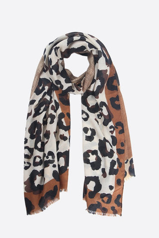 Beige and Black Block Leopard Print Scarf