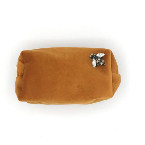 Burnt Orange Velvet Make Up Bag with Jewel Bee Pin