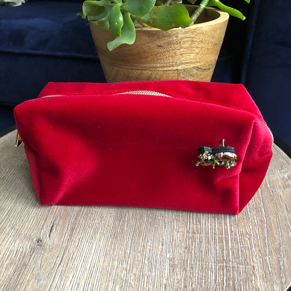 Berry Red Velvet Make Up Bag with Jewel Pin