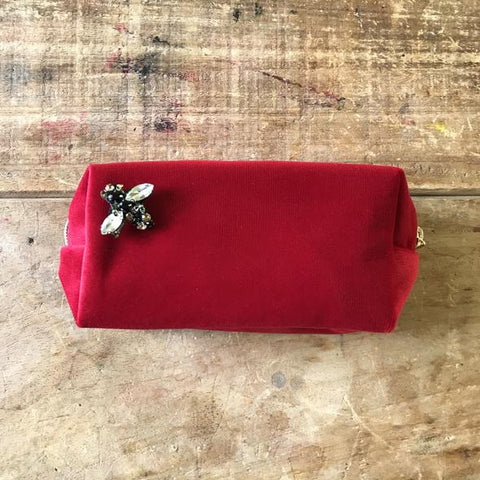 Berry Red Velvet Make Up Bag with Jewel Bee Pin