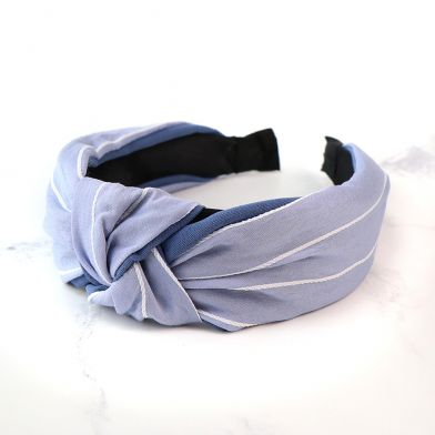 Pale Blue and White Striped Headband