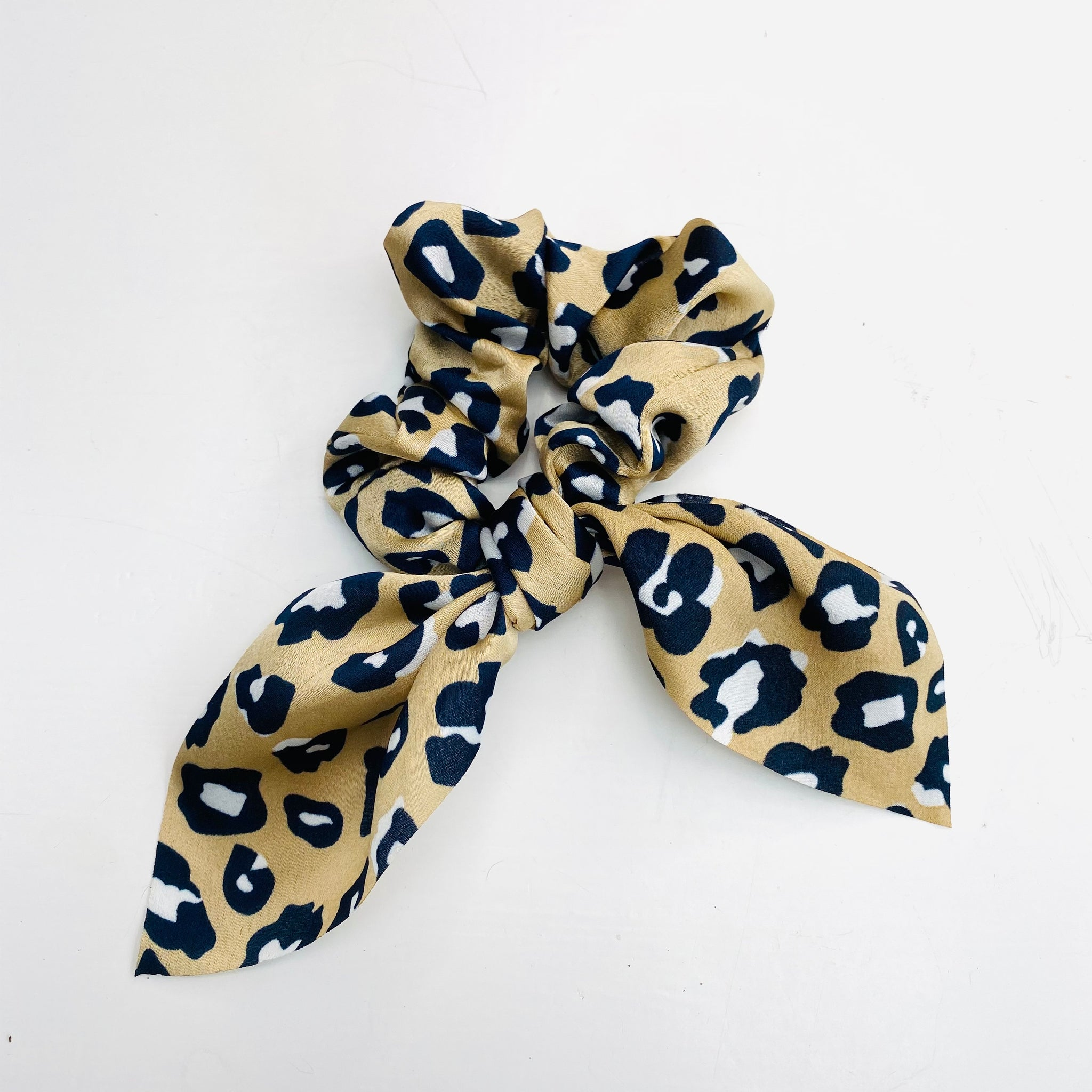 Beige and Stone Leopard Print Scarf Scrunchie