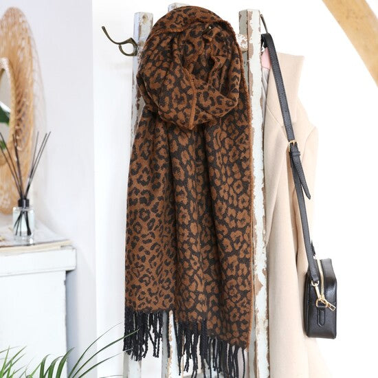 Camel Animal Print Blanket Scarf