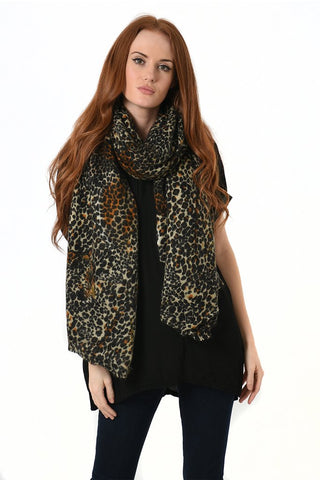 Camel and Black Leopard Print Blanket Scarf