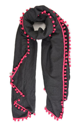 Charcoal Grey and Fuchsia Pom Pom Scarf
