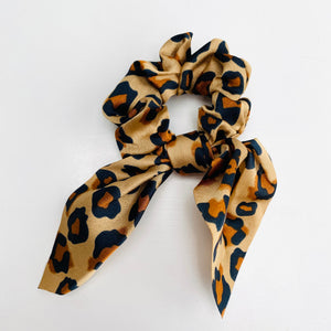 Camel and Black Leopard Print Scarf Scrunchie - Cut out