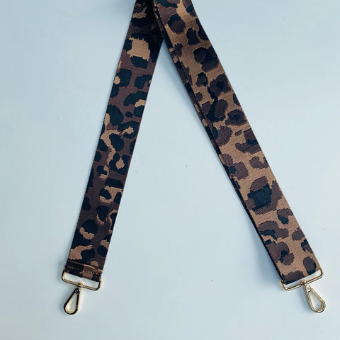 Chocolate Brown Animal Print Bag Strap