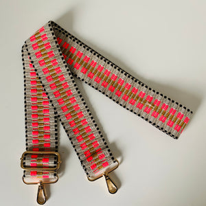 Coral and Stone Bar Pattern Bag Strap