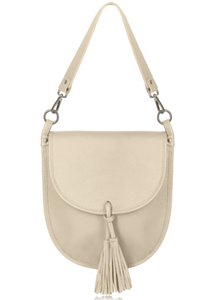 Cream Leather Cross Body Tote Bag