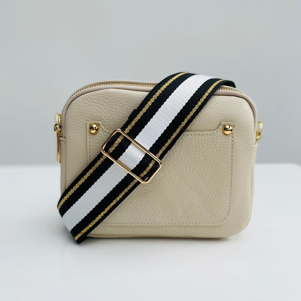 Cream Leather Double Zip Cross Body Bag monochrome and gold strap
