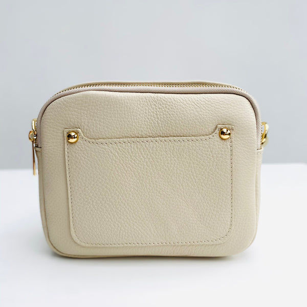 Cream Leather Double Zip Cross Body Bag no strap