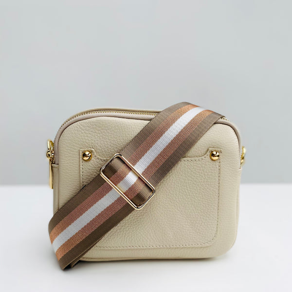 Cream Leather Double Zip Cross Body Bag rose gold and taupe strap