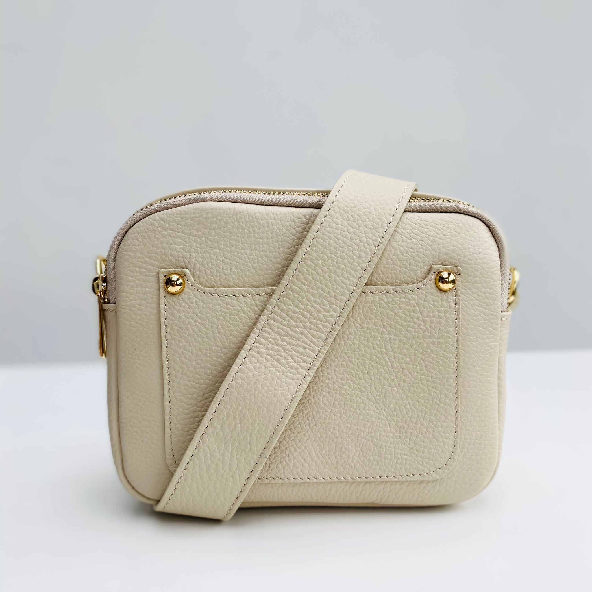 Cream Leather Double Zip Cross Body Bag wide strap