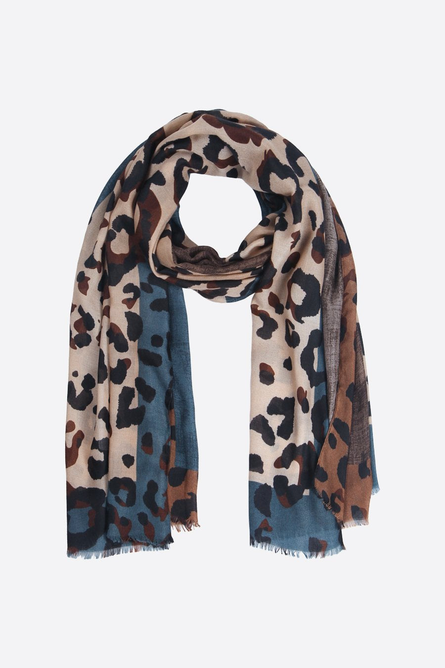 Denim Blue and Camel Block Leopard Print Scarf