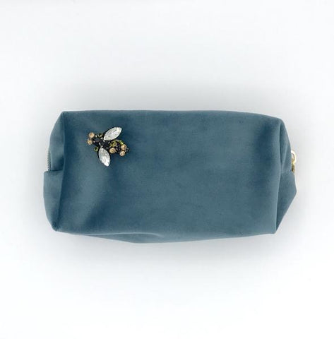 Denim Blue Velvet Make Up Bag with Jewel Bee Pin