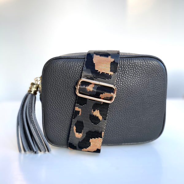 Grey and Black Animal Print Bag Strap